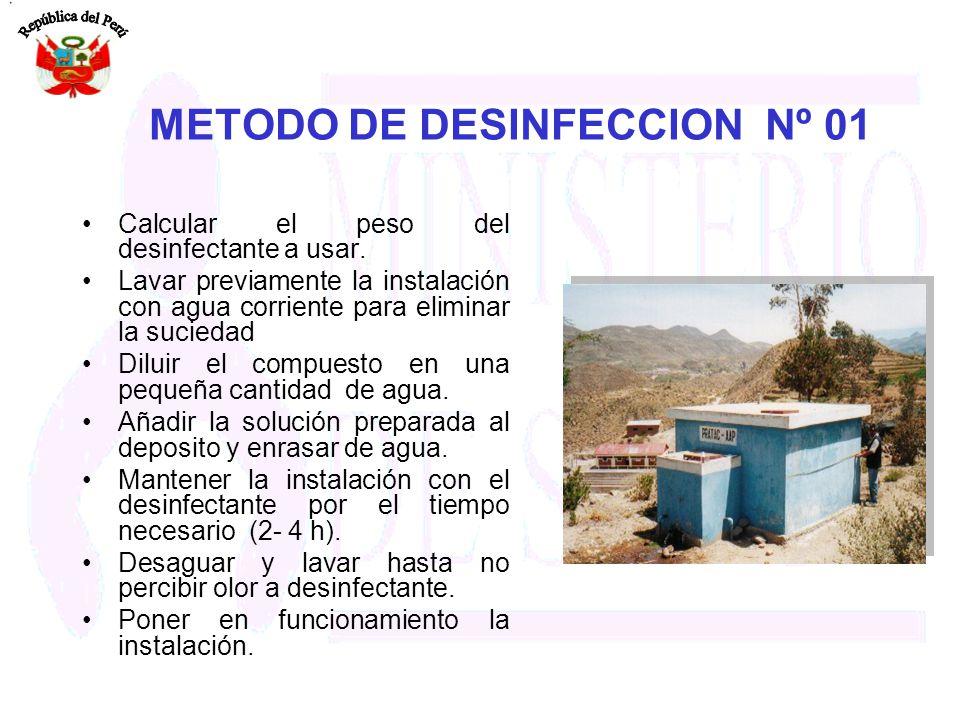 METODO DE DESINFECCION Nº 01 Calcular el peso del desinfectante a usar. Lavar previamente la instalación con agua corriente para eliminar la suciedad