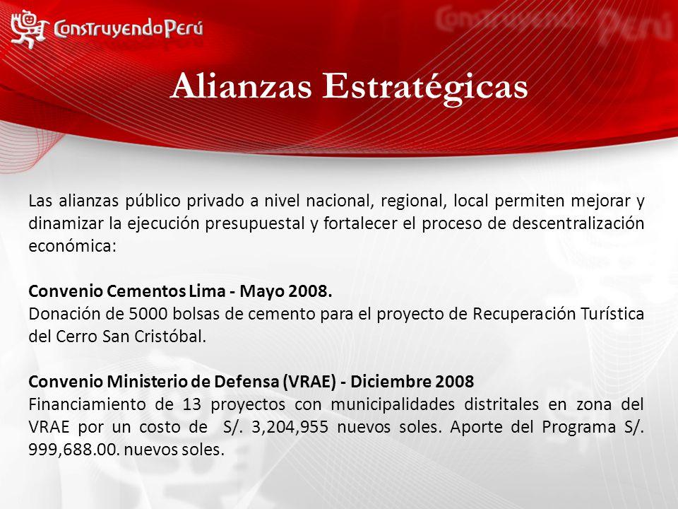 Alianzas Estratégicas Las alianzas público privado a nivel nacional, regional, local permiten mejorar y dinamizar la ejecución presupuestal y fortalecer el proceso de descentralización económica: Convenio Cementos Lima - Mayo 2008.