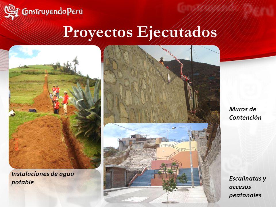 Instalaciones de agua potable Muros de Contención Escalinatas y accesos peatonales Proyectos Ejecutados