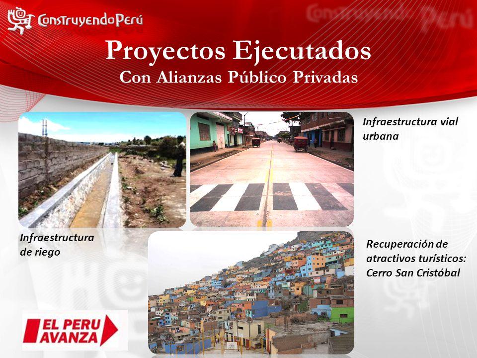 Con Alianzas Público Privadas Infraestructura de riego Infraestructura vial urbana Recuperación de atractivos turísticos: Cerro San Cristóbal Proyectos Ejecutados
