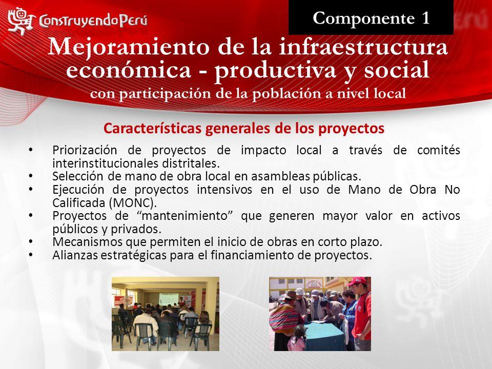 Mejoramiento de la infraestructura Componente 1 Priorización de proyectos de impacto local a través de comités interinstitucionales distritales.
