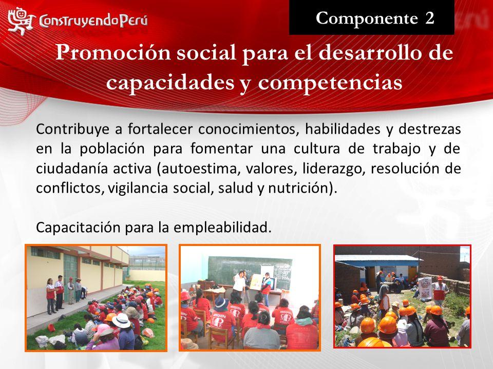 Promoción social para el desarrollo de capacidades y competencias Componente 2 Contribuye a fortalecer conocimientos, habilidades y destrezas en la población para fomentar una cultura de trabajo y de ciudadanía activa (autoestima, valores, liderazgo, resolución de conflictos, vigilancia social, salud y nutrición).