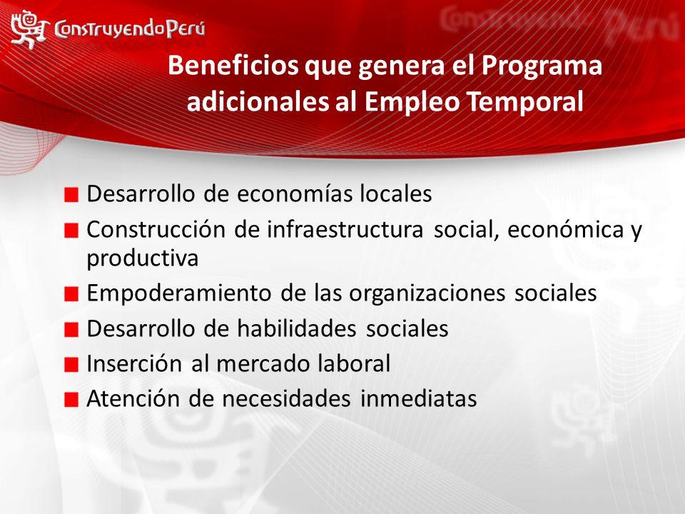 Beneficios que genera el Programa adicionales al Empleo Temporal Desarrollo de economías locales Construcción de infraestructura social, económica y productiva Empoderamiento de las organizaciones sociales Desarrollo de habilidades sociales Inserción al mercado laboral Atención de necesidades inmediatas