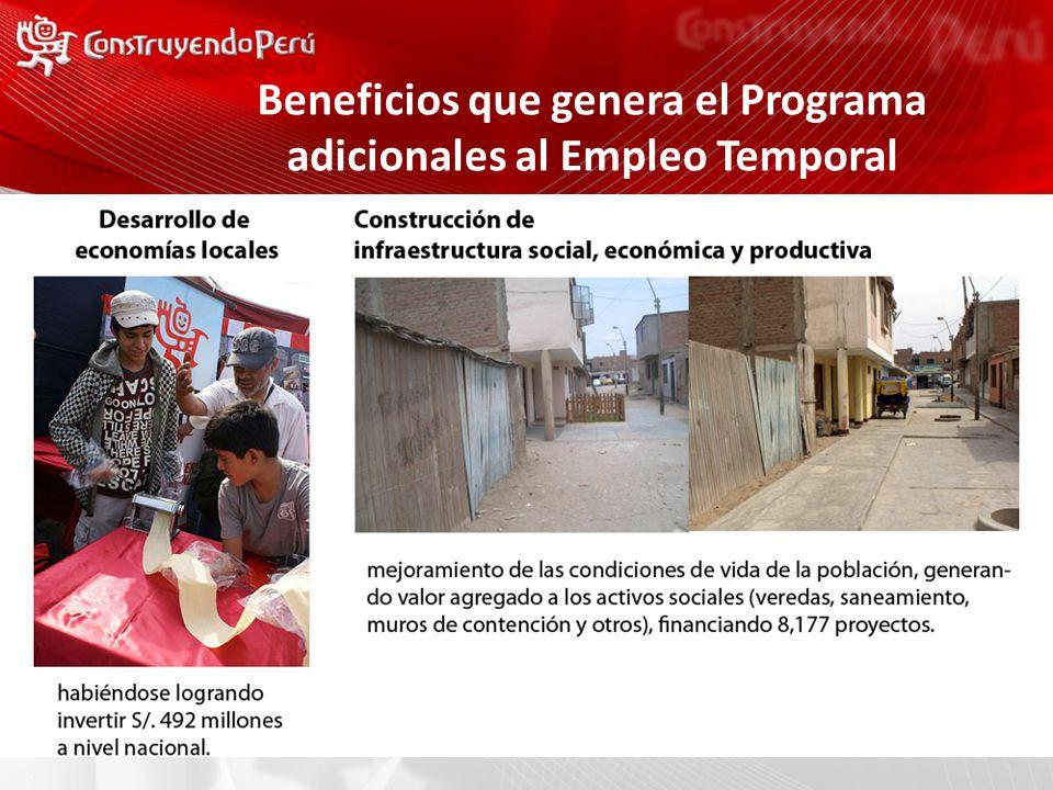 Beneficios que genera el Programa adicionales al Empleo Temporal