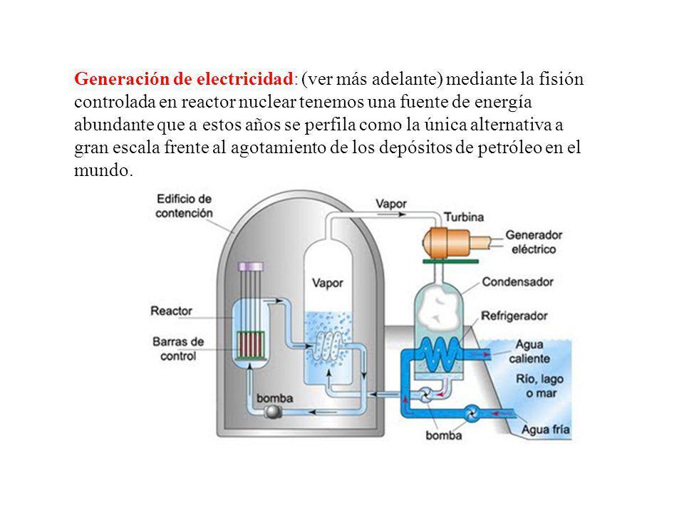 Generación de electricidad: (ver más adelante) mediante la fisión controlada en reactor nuclear tenemos una fuente de energía abundante que a estos añ