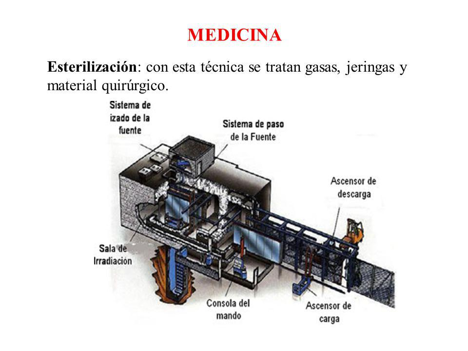 Esterilización: con esta técnica se tratan gasas, jeringas y material quirúrgico. MEDICINA