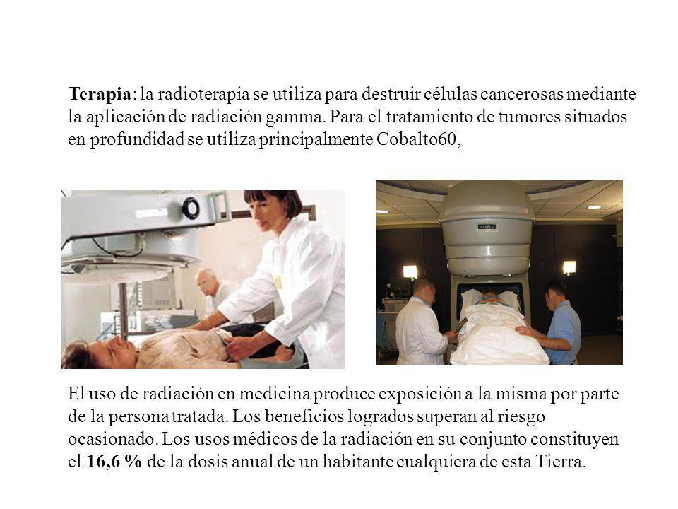Terapia: la radioterapia se utiliza para destruir células cancerosas mediante la aplicación de radiación gamma. Para el tratamiento de tumores situado