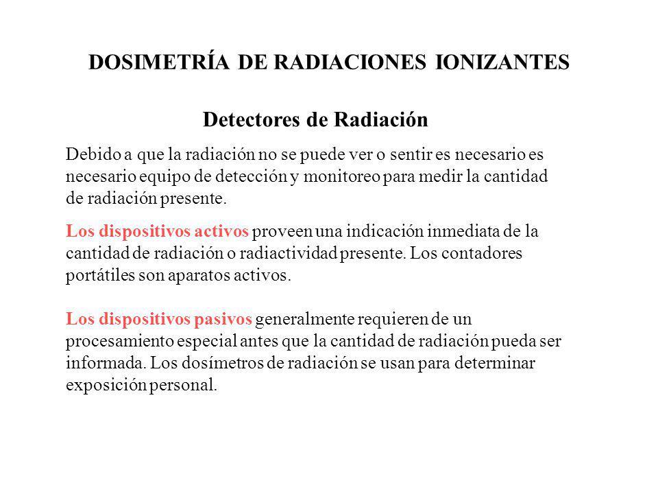 DOSIMETRÍA DE RADIACIONES IONIZANTES Detectores de Radiación Debido a que la radiación no se puede ver o sentir es necesario es necesario equipo de de
