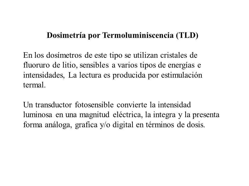 Dosimetría por Termoluminiscencia (TLD) En los dosímetros de este tipo se utilizan cristales de fluoruro de litio, sensibles a varios tipos de energía