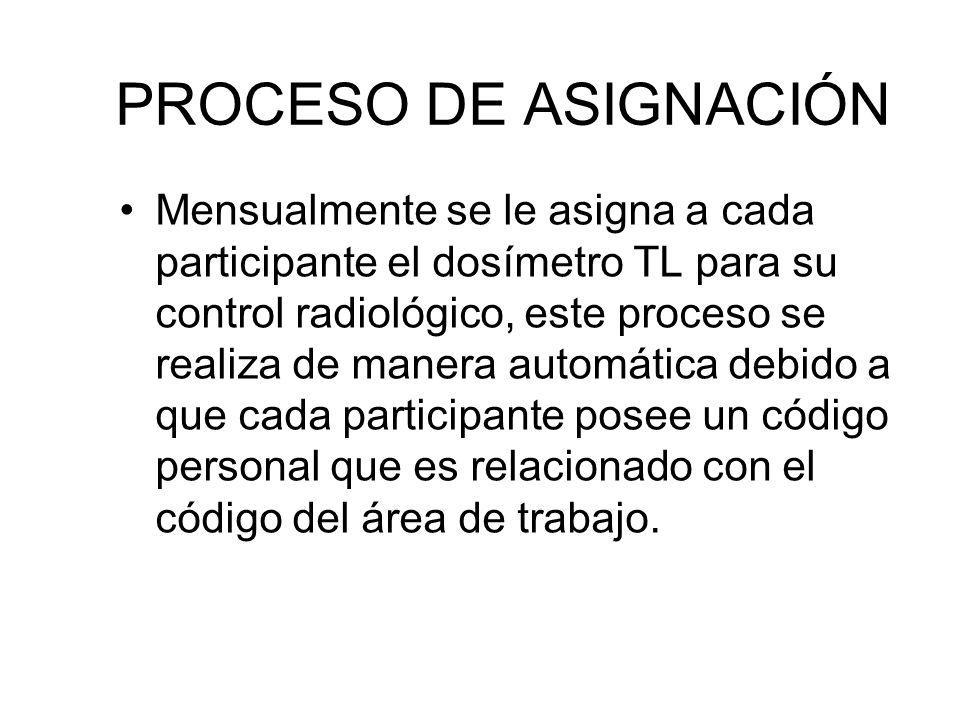 PROCESO DE ASIGNACIÓN Mensualmente se le asigna a cada participante el dosímetro TL para su control radiológico, este proceso se realiza de manera aut