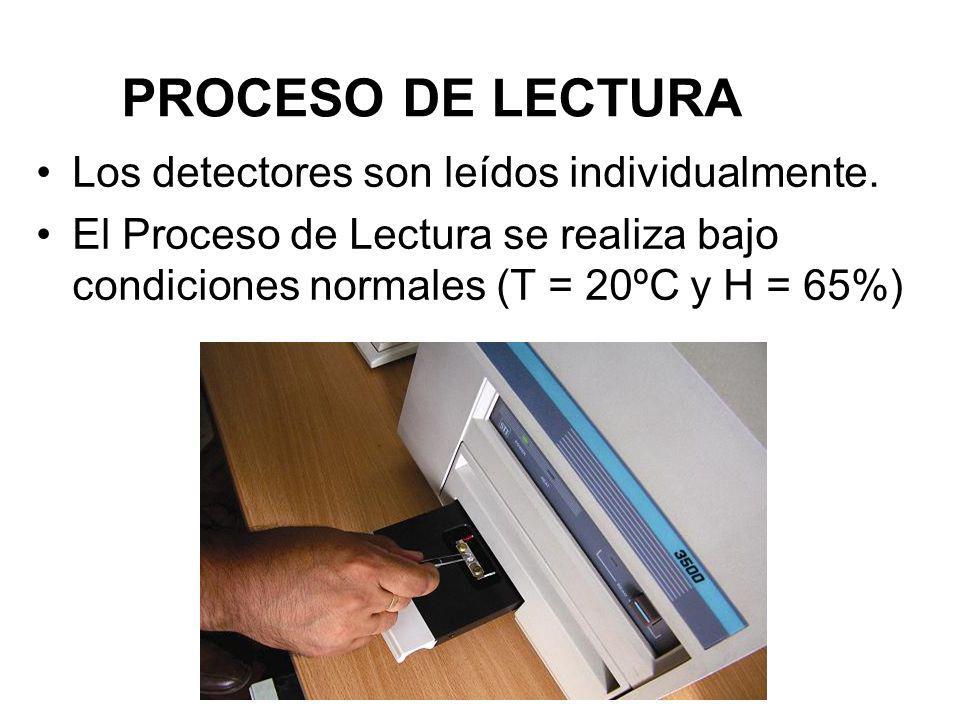 PROCESO DE LECTURA Los detectores son leídos individualmente. El Proceso de Lectura se realiza bajo condiciones normales (T = 20ºC y H = 65%)