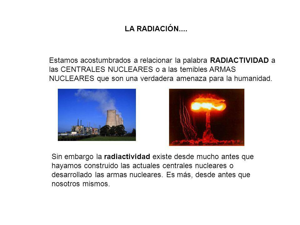 Estamos acostumbrados a relacionar la palabra RADIACTIVIDAD a las CENTRALES NUCLEARES o a las temibles ARMAS NUCLEARES que son una verdadera amenaza p