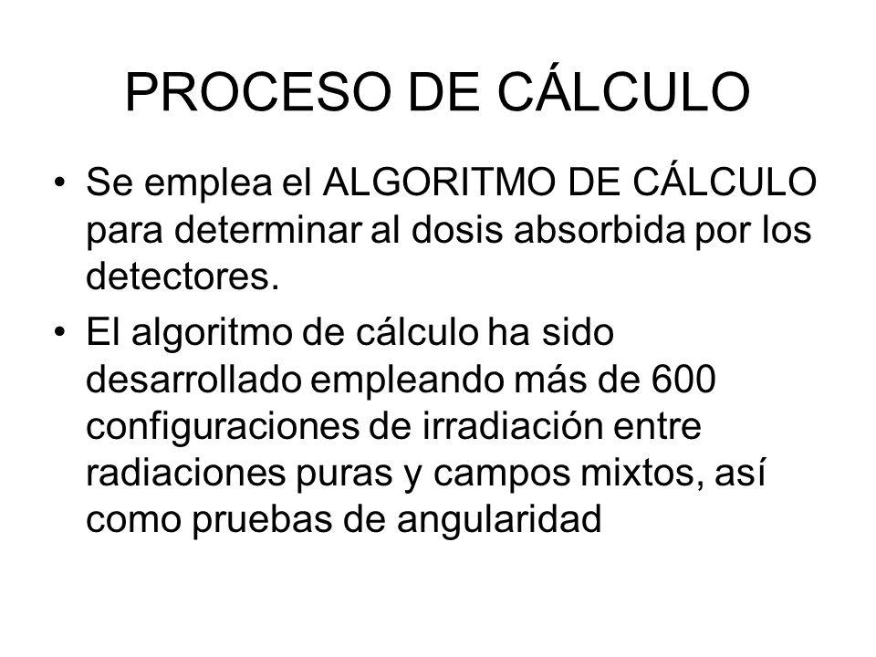 PROCESO DE CÁLCULO Se emplea el ALGORITMO DE CÁLCULO para determinar al dosis absorbida por los detectores. El algoritmo de cálculo ha sido desarrolla