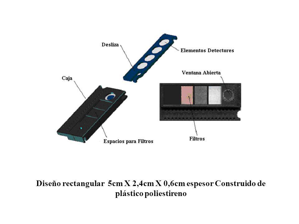 Diseño rectangular 5cm X 2,4cm X 0,6cm espesor Construido de plástico poliestireno
