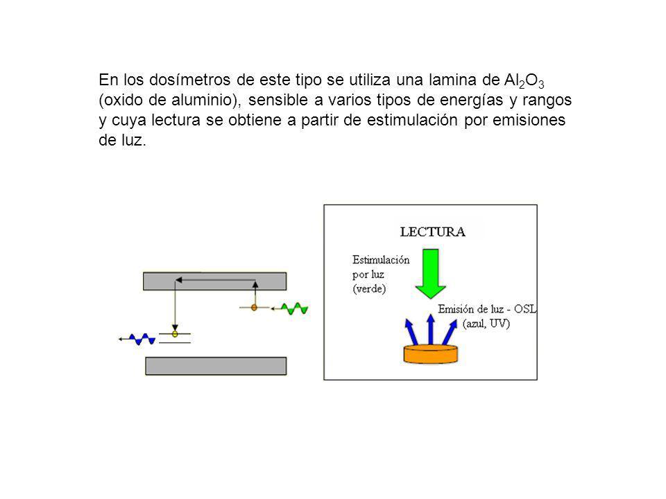 En los dosímetros de este tipo se utiliza una lamina de Al 2 O 3 (oxido de aluminio), sensible a varios tipos de energías y rangos y cuya lectura se o