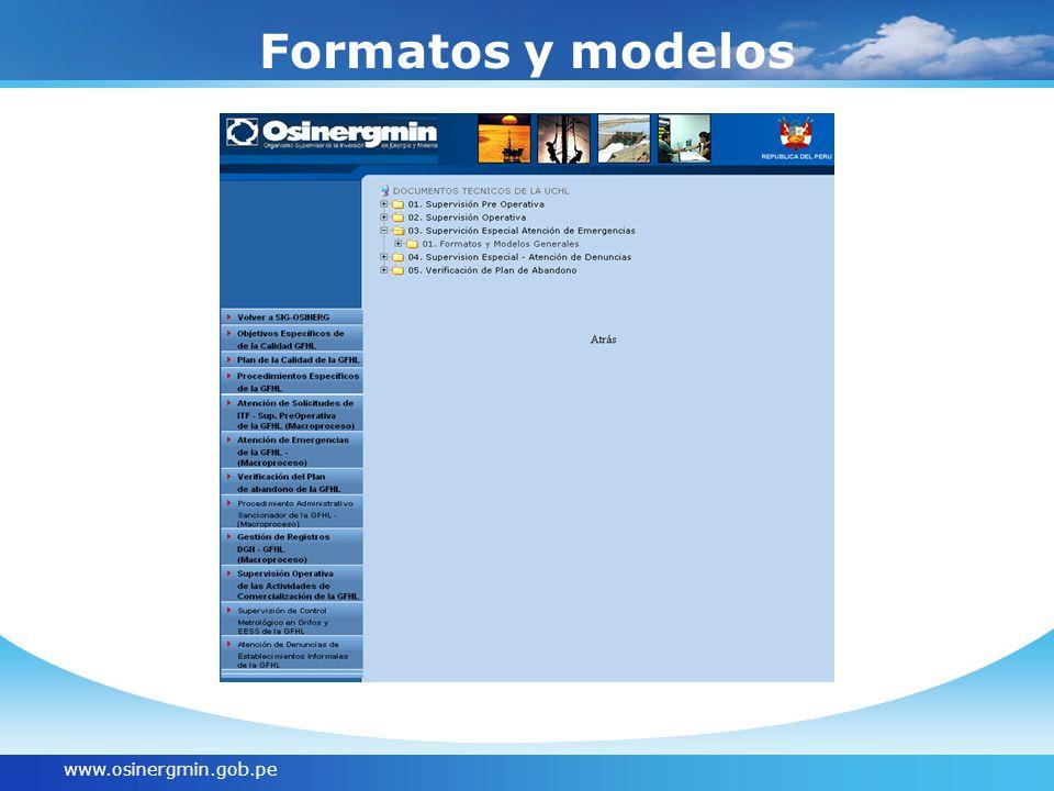 www.osinergmin.gob.pe Formatos y modelos