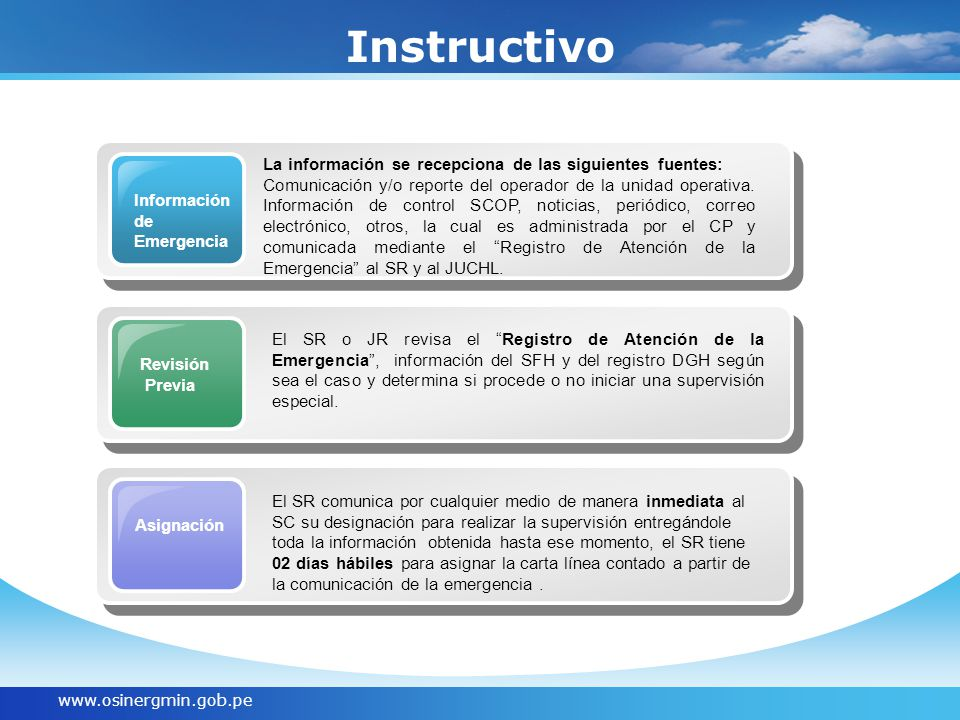 www.osinergmin.gob.pe Instructivo Información de Emergencia La información se recepciona de las siguientes fuentes: Comunicación y/o reporte del operador de la unidad operativa.