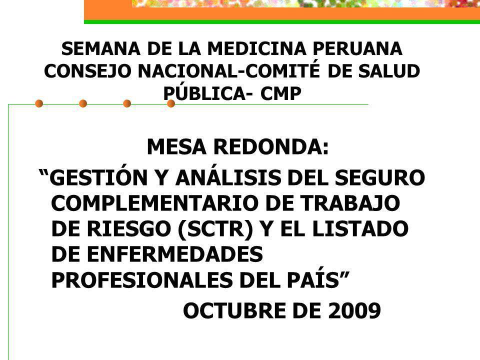SEMANA DE LA MEDICINA PERUANA CONSEJO NACIONAL-COMITÉ DE SALUD PÚBLICA- CMP MESA REDONDA: GESTIÓN Y ANÁLISIS DEL SEGURO COMPLEMENTARIO DE TRABAJO DE R