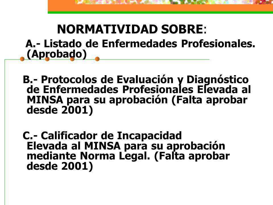 NORMATIVIDAD SOBRE: A.- Listado de Enfermedades Profesionales. (Aprobado) B.- Protocolos de Evaluación y Diagnóstico de Enfermedades Profesionales Ele