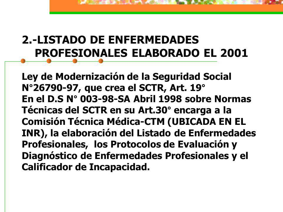 2.-LISTADO DE ENFERMEDADES PROFESIONALES ELABORADO EL 2001 Ley de Modernización de la Seguridad Social N°26790-97, que crea el SCTR, Art. 19° En el D.