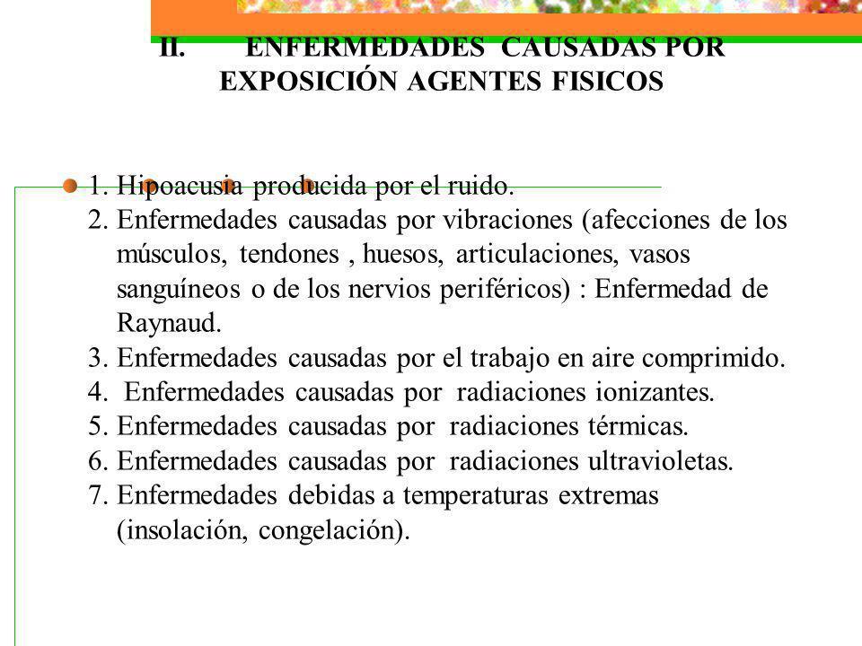 II.ENFERMEDADES CAUSADAS POR EXPOSICIÓN AGENTES FISICOS 1. Hipoacusia producida por el ruido. 2. Enfermedades causadas por vibraciones (afecciones de