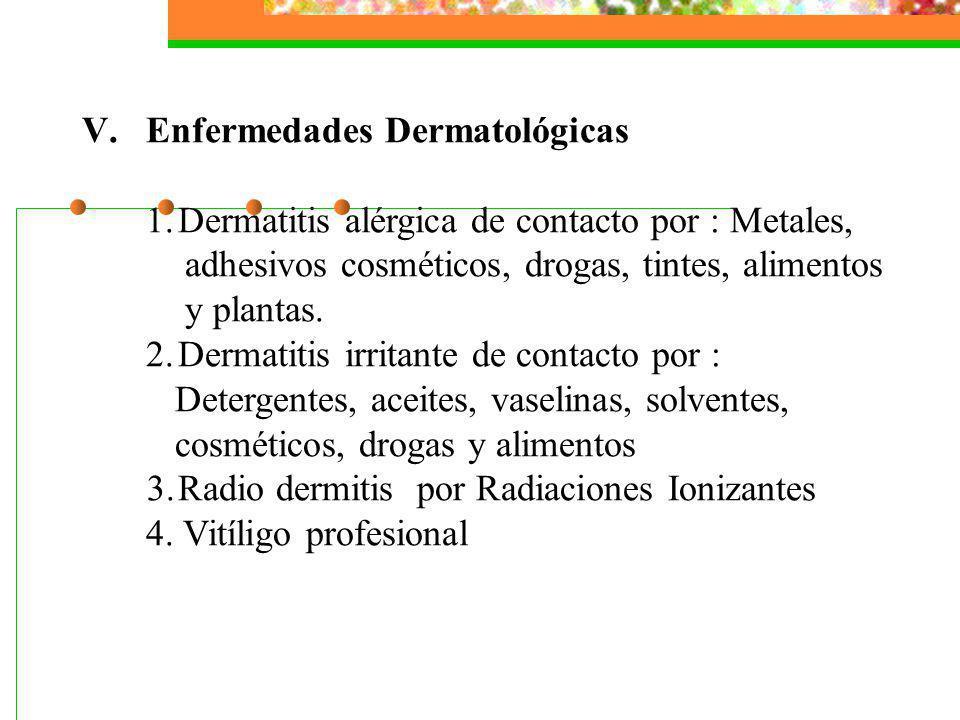 V.Enfermedades Dermatológicas 1.Dermatitis alérgica de contacto por : Metales, adhesivos cosméticos, drogas, tintes, alimentos y plantas. 2.Dermatitis
