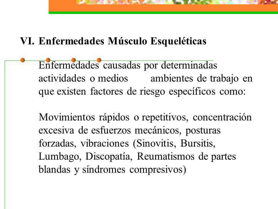 VI.Enfermedades Músculo Esqueléticas Enfermedades causadas por determinadas actividades o medios ambientes de trabajo en que existen factores de riesg