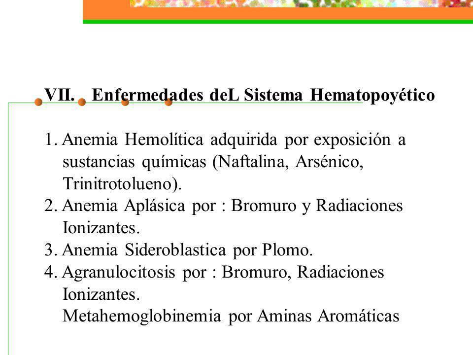 VII.Enfermedades deL Sistema Hematopoyético 1. Anemia Hemolítica adquirida por exposición a sustancias químicas (Naftalina, Arsénico, Trinitrotolueno)