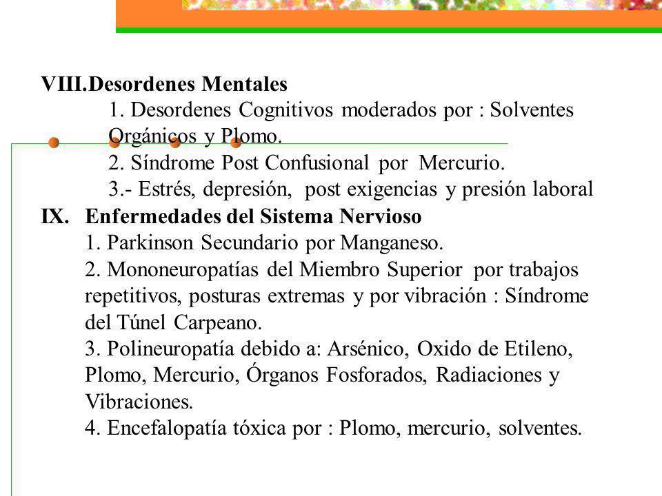 VIII.Desordenes Mentales IX.Enfermedades del Sistema Nervioso 1. Parkinson Secundario por Manganeso. 2. Mononeuropatías del Miembro Superior por traba
