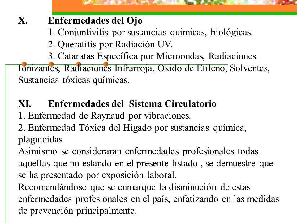 X.Enfermedades del Ojo 1. Conjuntivitis por sustancias químicas, biológicas. 2. Queratitis por Radiación UV. 3. Cataratas Específica por Microondas, R