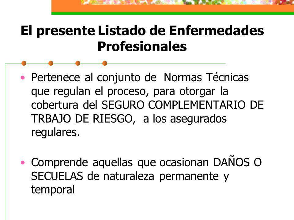 El presente Listado de Enfermedades Profesionales Pertenece al conjunto de Normas Técnicas que regulan el proceso, para otorgar la cobertura del SEGUR