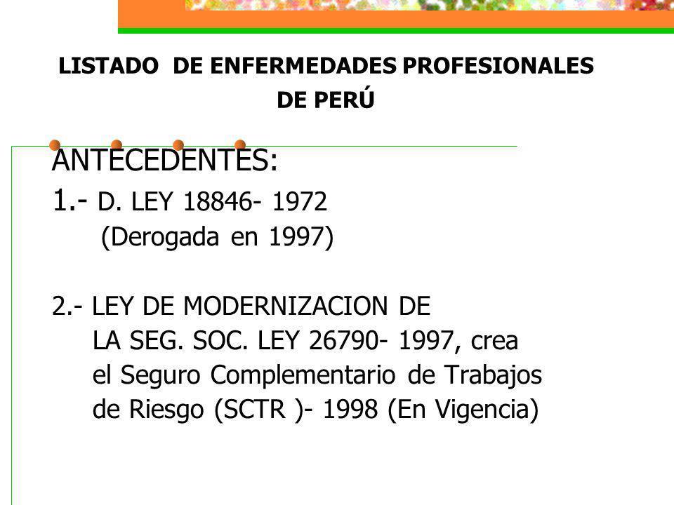 LISTADO DE ENFERMEDADES PROFESIONALES DE PERÚ ANTECEDENTES: 1.- D. LEY 18846- 1972 (Derogada en 1997) 2.- LEY DE MODERNIZACION DE LA SEG. SOC. LEY 267
