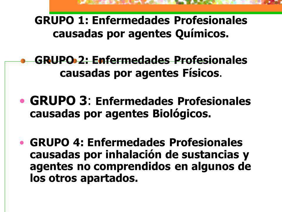 GRUPO 1: Enfermedades Profesionales causadas por agentes Químicos. GRUPO 2: Enfermedades Profesionales causadas por agentes Físicos. GRUPO 3: Enfermed