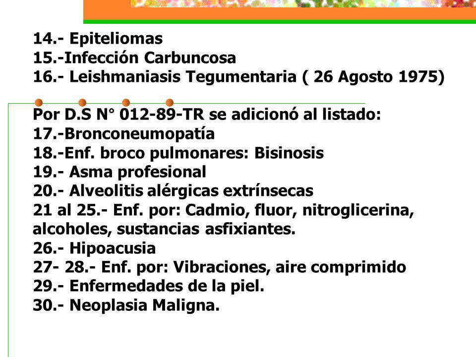 14.- Epiteliomas 15.-Infección Carbuncosa 16.- Leishmaniasis Tegumentaria ( 26 Agosto 1975) Por D.S N° 012-89-TR se adicionó al listado: 17.-Bronconeu