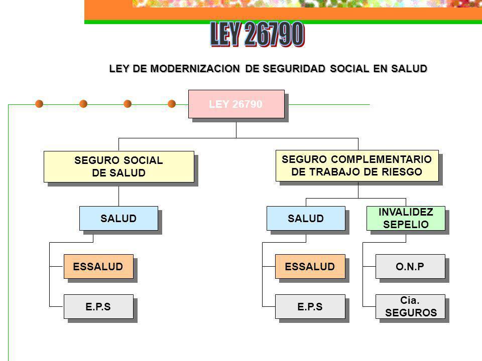 LEY DE MODERNIZACION DE SEGURIDAD SOCIAL EN SALUD LEY 26790 SEGURO SOCIAL DE SALUD SEGURO SOCIAL DE SALUD SEGURO COMPLEMENTARIO DE TRABAJO DE RIESGO S