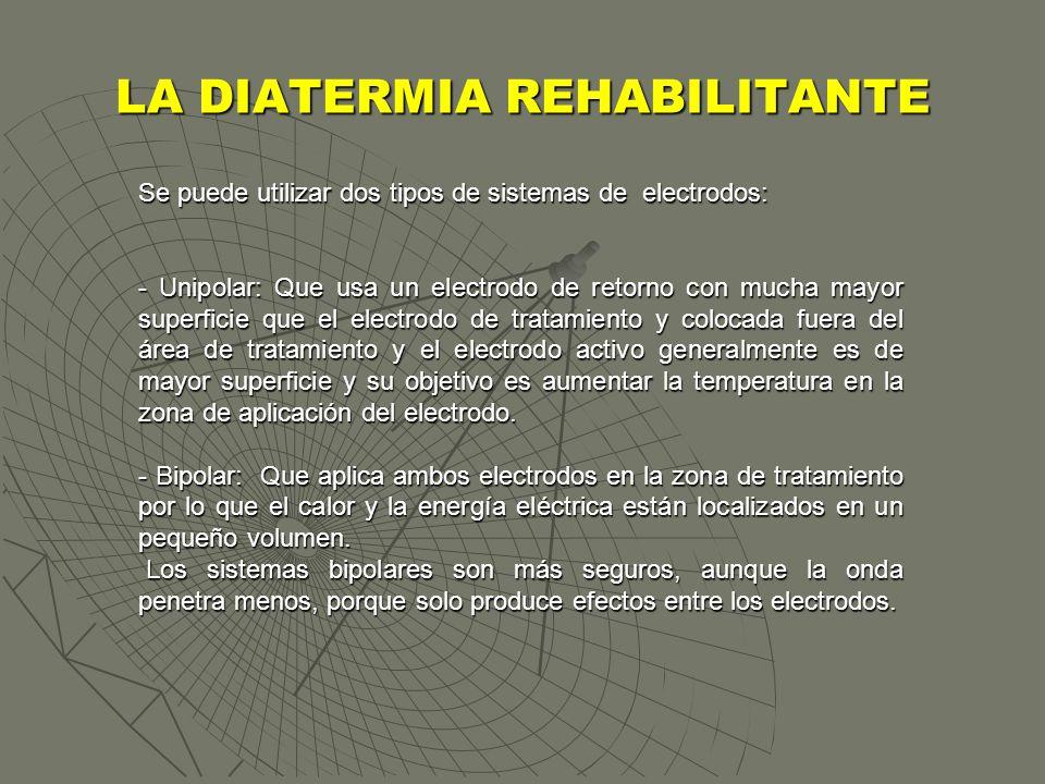 LA DIATERMIA REHABILITANTE Se puede utilizar dos tipos de sistemas de electrodos: - Unipolar: Que usa un electrodo de retorno con mucha mayor superfic