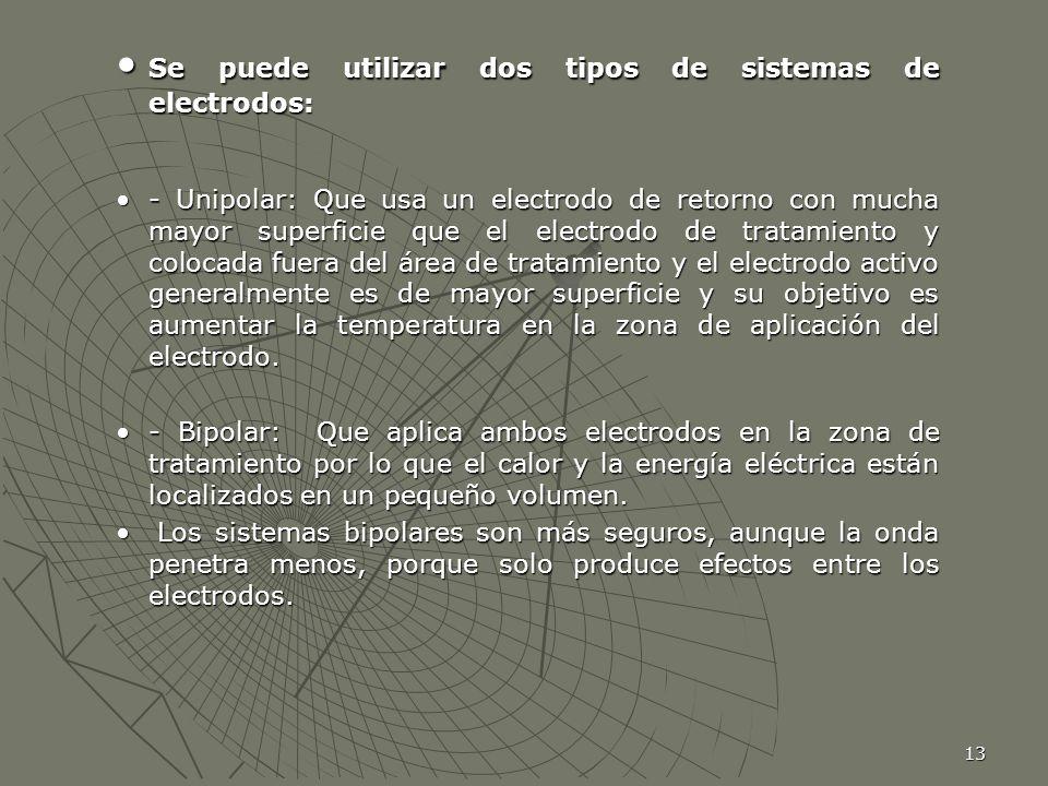 13 Se puede utilizar dos tipos de sistemas de electrodos: Se puede utilizar dos tipos de sistemas de electrodos: - Unipolar: Que usa un electrodo de r