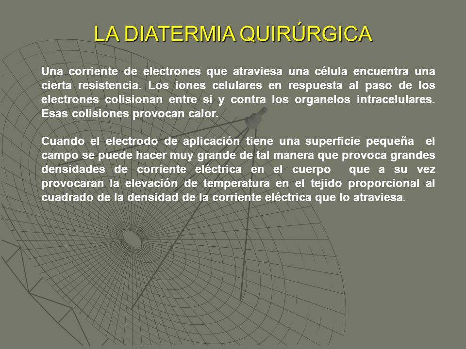 LA DIATERMIA QUIRÚRGICA Una corriente de electrones que atraviesa una célula encuentra una cierta resistencia. Los iones celulares en respuesta al pas
