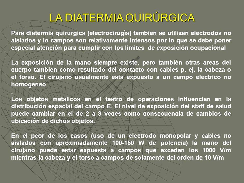 LA DIATERMIA QUIRÚRGICA Para diatermia quirurgica (electrocirugìa) tambien se utilizan electrodos no aislados y lo campos son relativamente intensos p