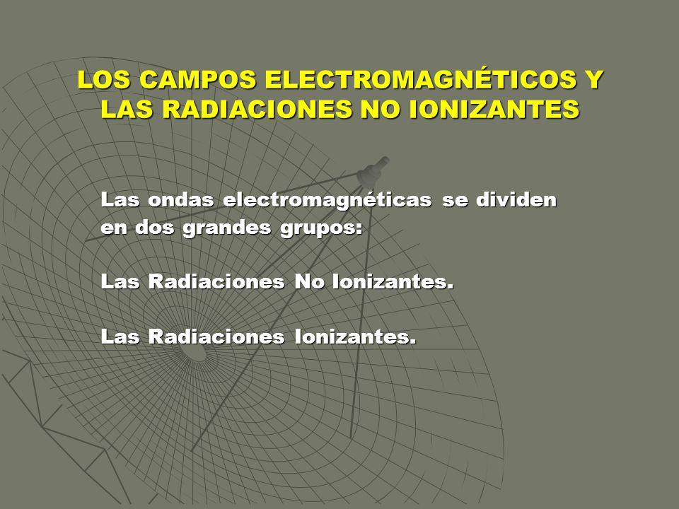 Las ondas electromagnéticas se dividen en dos grandes grupos: Las Radiaciones No Ionizantes. Las Radiaciones Ionizantes. LOS CAMPOS ELECTROMAGNÉTICOS
