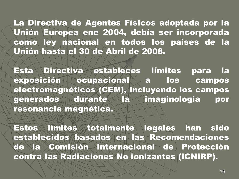 30 La Directiva de Agentes Físicos adoptada por la Unión Europea ene 2004, debía ser incorporada como ley nacional en todos los países de la Unión has