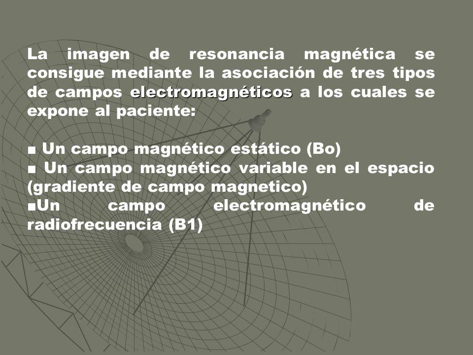 electromagnéticos La imagen de resonancia magnética se consigue mediante la asociación de tres tipos de campos electromagnéticos a los cuales se expon