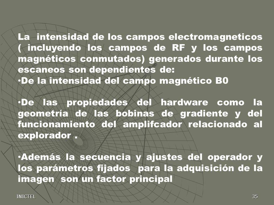 INICTEL35 La intensidad de los campos electromagneticos ( incluyendo los campos de RF y los campos magnéticos conmutados) generados durante los escane