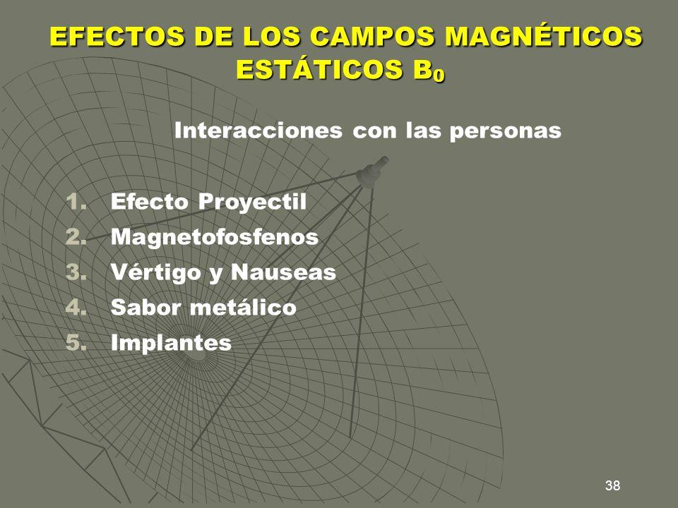 38 EFECTOS DE LOS CAMPOS MAGNÉTICOS ESTÁTICOS B 0 EFECTOS DE LOS CAMPOS MAGNÉTICOS ESTÁTICOS B 0 Interacciones con las personas 1.Efecto Proyectil 2.M