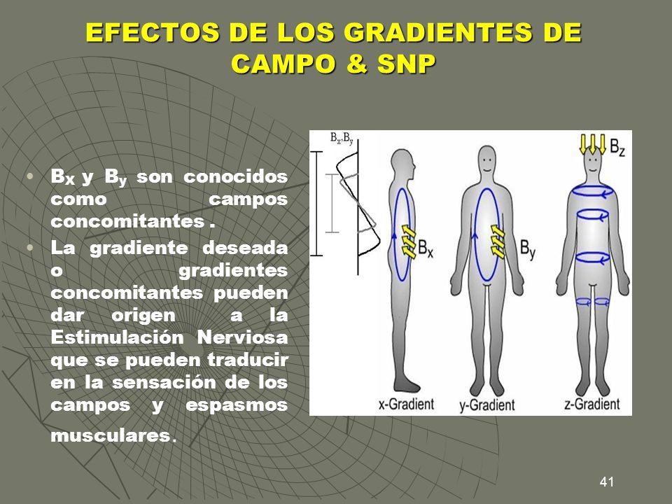 41 EFECTOS DE LOS GRADIENTES DE CAMPO & SNP B X y B y son conocidos como campos concomitantes. La gradiente deseada o gradientes concomitantes pueden