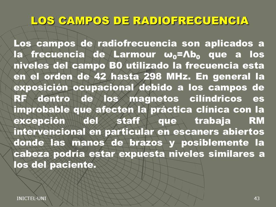 INICTEL-UNI43 Los campos de radiofrecuencia son aplicados a la frecuencia de Larmour ω 0 =Λb 0 que a los niveles del campo B0 utilizado la frecuencia