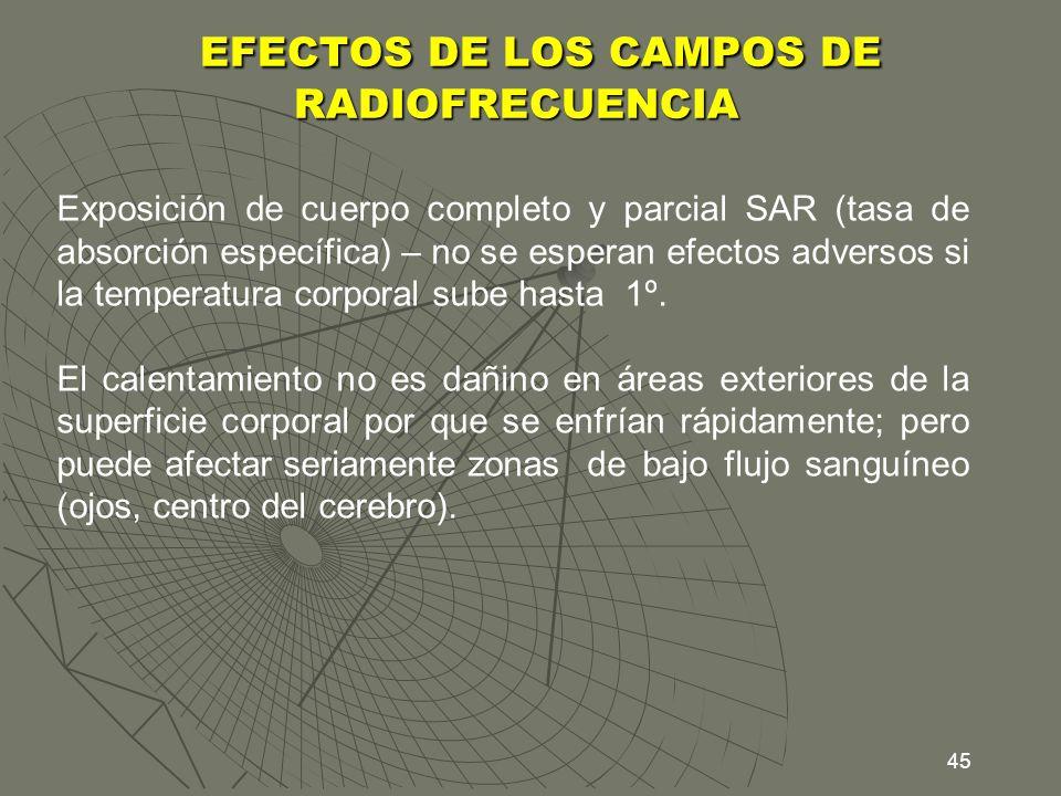 45 EFECTOS DE LOS CAMPOS DE RADIOFRECUENCIA EFECTOS DE LOS CAMPOS DE RADIOFRECUENCIA Exposición de cuerpo completo y parcial SAR (tasa de absorción es