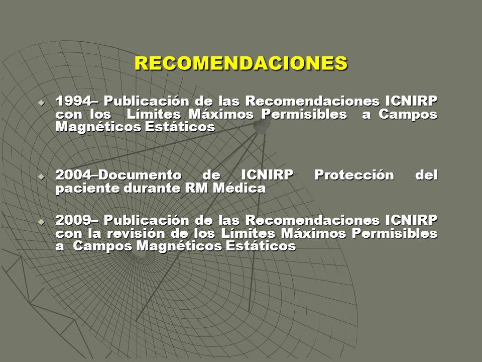 RECOMENDACIONES 1994– Publicación de las Recomendaciones ICNIRP con los Límites Máximos Permisibles a Campos Magnéticos Estáticos 1994– Publicación de