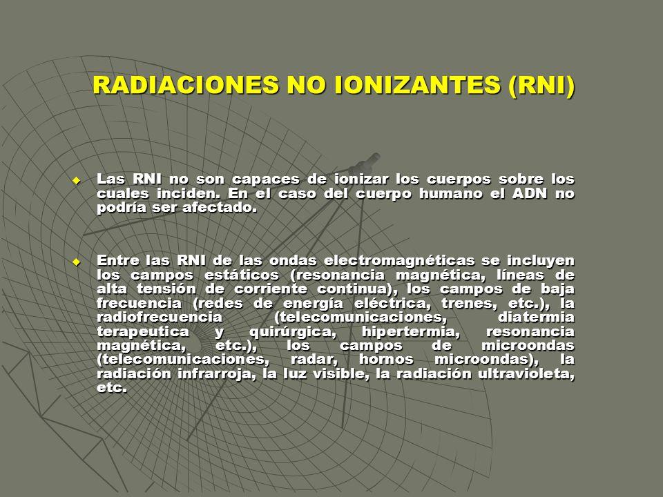 RADIACIONES NO IONIZANTES (RNI) Las RNI no son capaces de ionizar los cuerpos sobre los cuales inciden. En el caso del cuerpo humano el ADN no podría