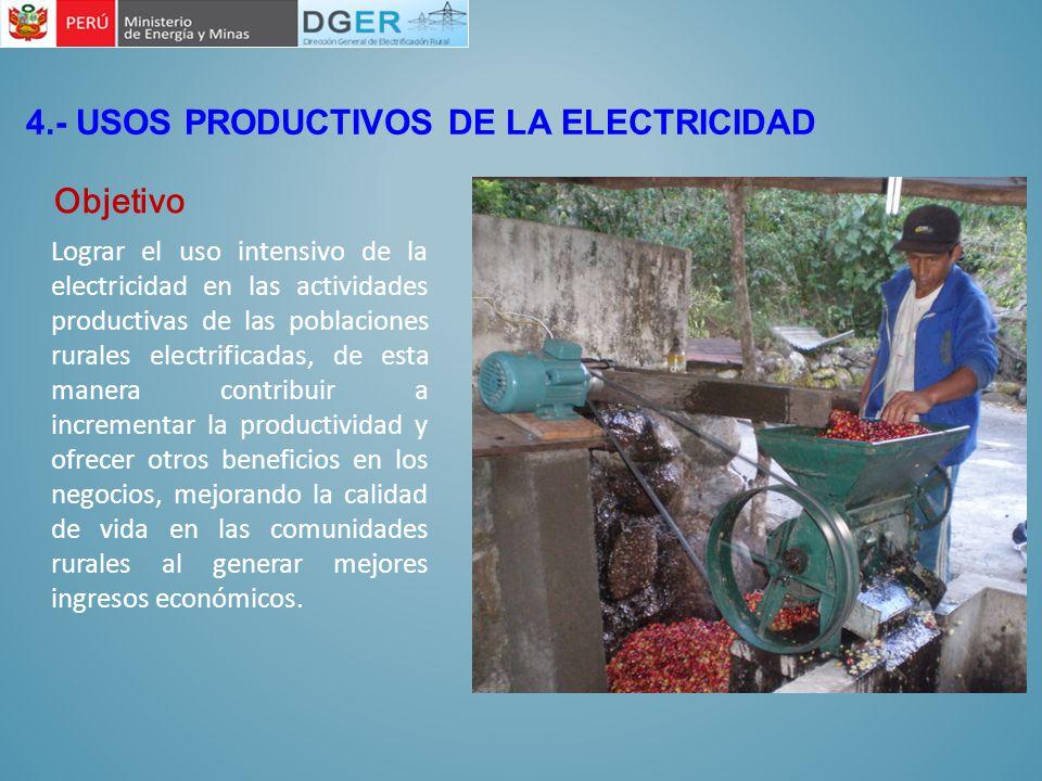 Lograr el uso intensivo de la electricidad en las actividades productivas de las poblaciones rurales electrificadas, de esta manera contribuir a incre